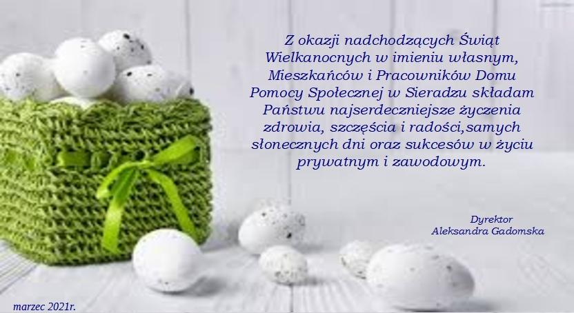 Karta z życzeniami Wielkanocnymi skierowane od mieszkańców, pracowników i dyrekcji